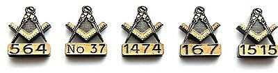 x15 MASONIC LAPEL BADGES PERSONALISED WITH OWN LODGE NUMBER WITH OR WITHOUT G