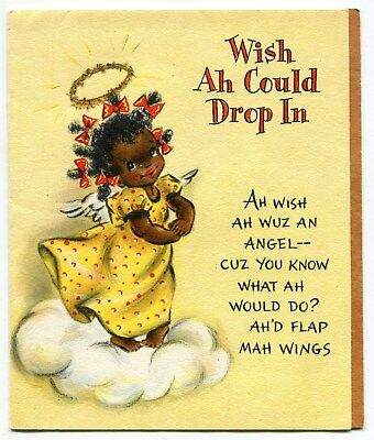 Vintage Hallmark Greeting Card: Flying Black Girl Angel (w/ Spring Attachment)