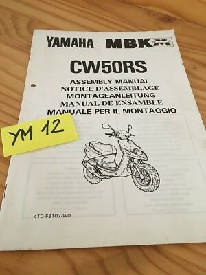 Scooter Yamaha MBK CW50RS CW50 RS CW 50  instruction preparation setup manuel