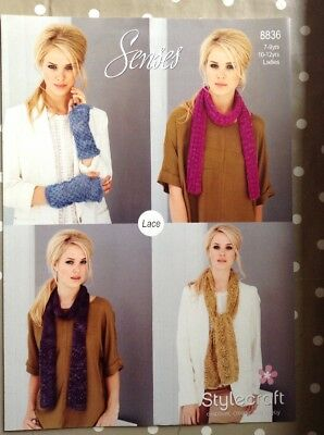 Stylecraft Senses Lace Ladies Scarves & Mitts Knitting Pattern 8836