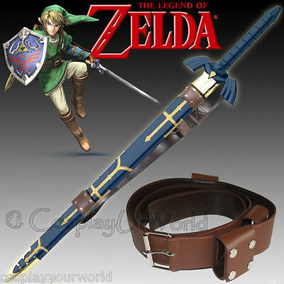 Legend Zelda Triforce Link Hylian Twilight Master Sword Leather Belt Stitched