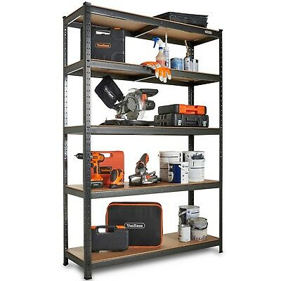 VonHaus 5 Tier Garage Shelving - Extra Wide Metal Racking, Steel & MDF Shelves