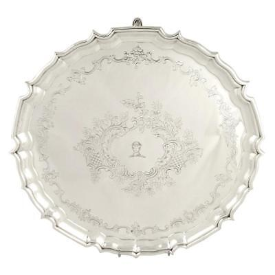 """Heavy Antique Edwardian Sterling Silver 14"""" Tray/salver - 1910"""