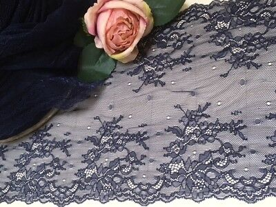"""laverslace - Delicate Navy Blue Clipped Wide Stretch Lace Trim 9.5""""/24 cm Sewing"""