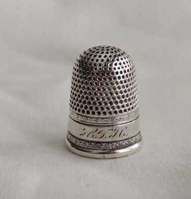 Antique Sterling Silver Dome Top Thimble Engraved Hth