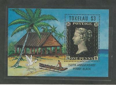 Tokelau, Postage Stamp, #171 Mint NH Sheet, 1990 Penny Black, Beach