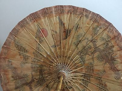 Antique Rice Paper Hand-painted Chinese Parasol Bamboo