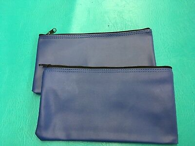 2  Blue Zippered Control Group Bank Deposit Money Check Cheque Bags