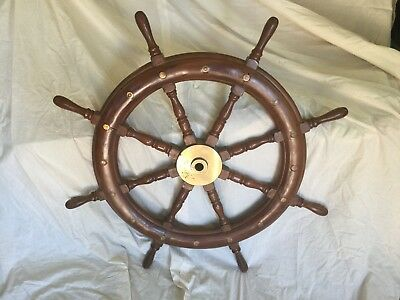 Large Antique Ships Wheel with Brass inlay