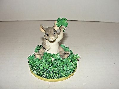 Fitz & Floyd Charming Tails Good Luck Figurine Mouse Clover Shamrock