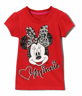 Disney Tee Shirt t Top Toddler Girls  Red Minnie Mouse Short Sleeve 2t 3t 4t nwt
