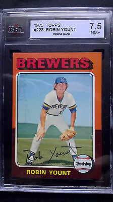 1975 topps baseball rookie card of Robin Yount graded 7.5 #223