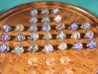 27 Antique Glass Marbles Latticinio Core Swirl Hand Made