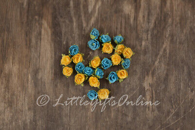 24 x Paper Flower Head ~15-20 mm NEW Scrapbook, Embellish, DIY Yellow Blue Roses