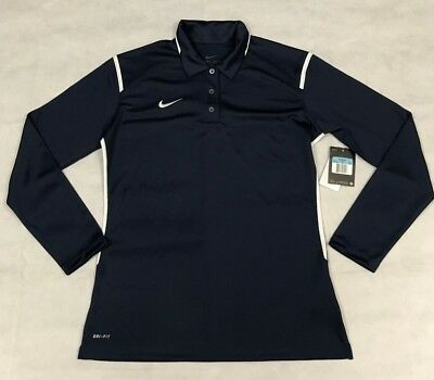 Nike Womens M Gameday Long Sleeve Dri Fit Polo Navy Blue 728202 420 Nwt 1