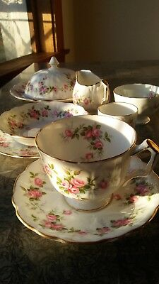 Rare Complete 9 piece Vintage Aynsley #185 Grotto Rose Tea and Breakfast Set