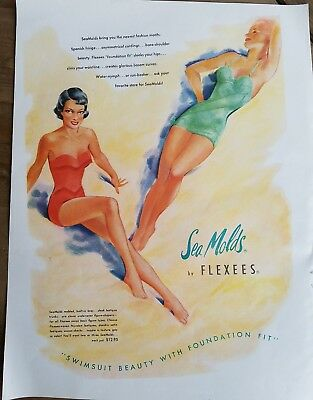 1951 women's sea molds swimsuits by Flexees color vintage fashion ad