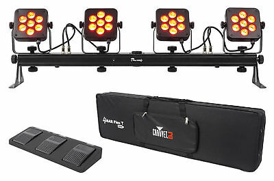 Chauvet DJ 4Bar Flex T USB D-Fi DMX LED Light Bar + Carry Case + Foot Switch