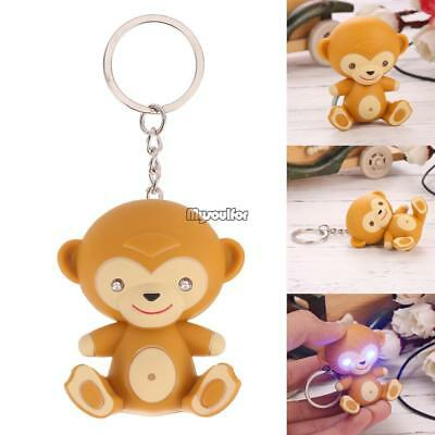 Mini Cute Monkey Shape Keychain Keyring Bag Charm Gift Toy with LED Light MSF