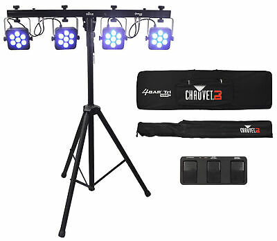 Chauvet DJ 4BAR TRI USB LED Wash FX Light Fixture W/Stand+Pedal+Bag 4 BAR TRI