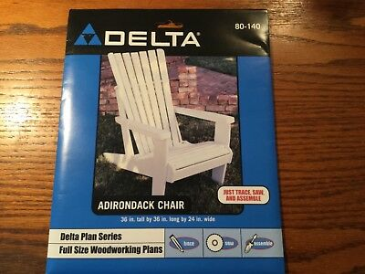 """Delta Full Size Woodworking Plan Adirondack Chair 80-140"""" Easy to Build"""" USA!"""