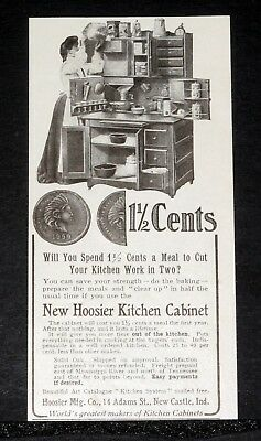 1905 Old Magazine Print Ad, Hoosier Kitchen Cabinet, Costs 1 1/2 Cents A Meal!