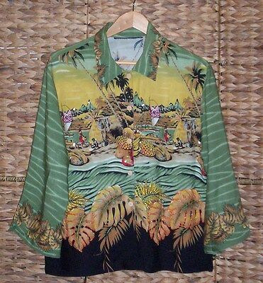 Hawaiian Vintage 60's Top Full Detailed With Beads And Sequence's