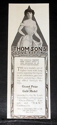 1905 Old Magazine Print Ad, Thompson's Glove - Fitting Corset, With Higher Bust!