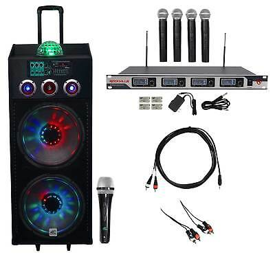 "NYC Acoustics Dual 15"" Karaoke Machine/System w/4 Mics For ipad/iphone/Laptop/TV"