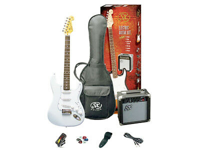 ESSEX Electric Guitar Pack White Includes Am, Lead Strap Tuner Gig Bag & Picks
