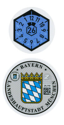 German European License Plate Registration and Inspection Sticker Set - Munich