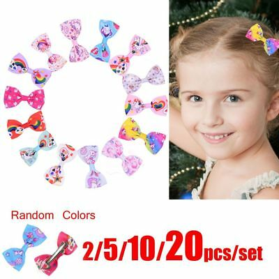 "Lovely Unicorn Girls 3"" Mini Ribbon Bows Hairpin Grosgrain Hair Bows Clips Gifts"