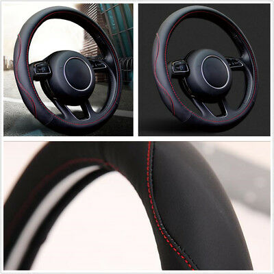 Universal 38cm Luxury Black Microfiber PU Leather Auto Car Steering Wheel Cover