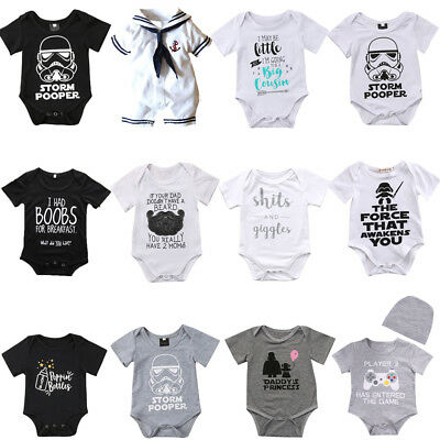 Cotton Baby Boy Girl Unisex Clothes Summer Romper Bodysuit Playsuit Outfits AU