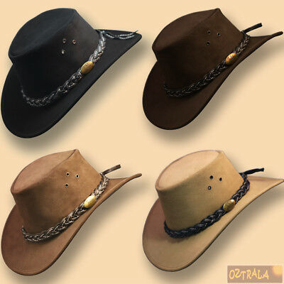 ■ Deluxe SUEDE LEATHER Jacaru Hat Australian OUTBACK Cowboy Mens Black Brown Cap