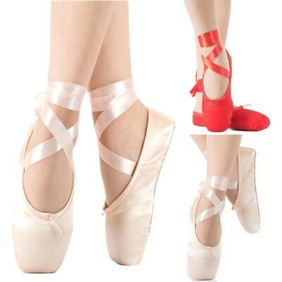 New Satin Ballet Pointe Professional Shoes Toe Shoes with Ribbon Pink ALL Size