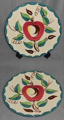 Set (2) PURINTON POTTERY Hand Painted APPLE PATTERN Chop Plates/Platters