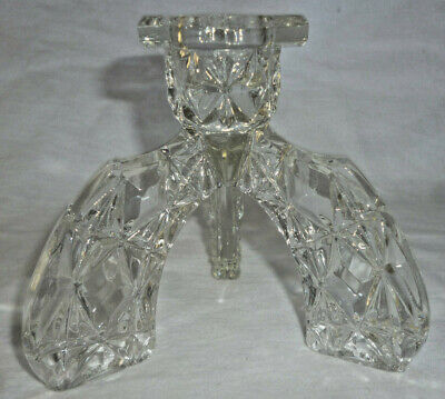 ART DECO DEPRESSION GLASS TRIPOD CANDLE HOLDER & CANDLE - great vintage look!
