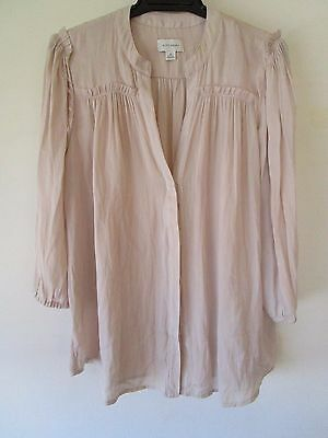 Ladies  Witchery semi sheer button front blouse top with raw edges