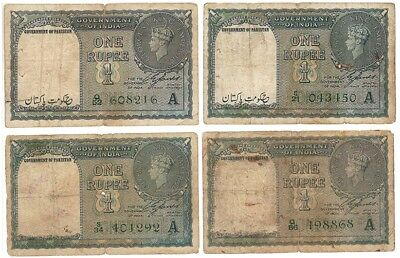 4 pcs British India 1 rupee overprint Gov of Pakistan pick 1A , nice collection