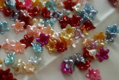 50 Acrylic Bead Caps 13x13mm Mixed Colours #A3872 Combine Post-See Listing