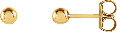 14k Yellow Gold Polished Round Ball Stud Earrings - 3x3mm 0.25grams