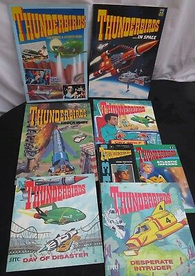 Bundle of vintage Thunderbirds books. Includes Story books & Activity books