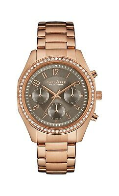 Caravelle Women's 44L195 Quartz Crystal Gray Chronograph Rose-Gold 36mm Watch