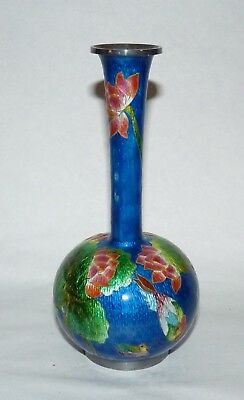 Antique Chinese, Japanese Cloisonne Vase, Lotus, Ducks, Possibly Silver. Signed.
