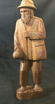 Vtg Hand Carved Wood Barefoot Hobo Man Carrying Bag Missing Cane/Walking Stick