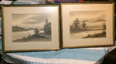 "Beautiful Pair of Japanese Prints  Mount Fuji 🗻 Fujisan 21"" x 17"""