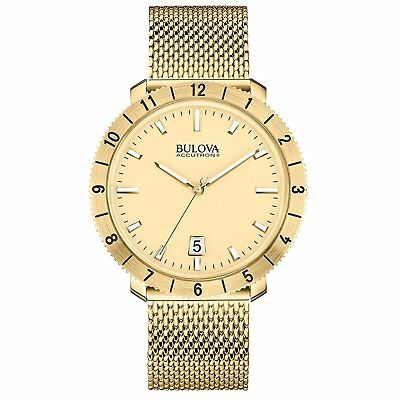 Bulova Accutron II Moonview Men's 97B129 Gold-Tone Mesh Bracelet 42mm Watch
