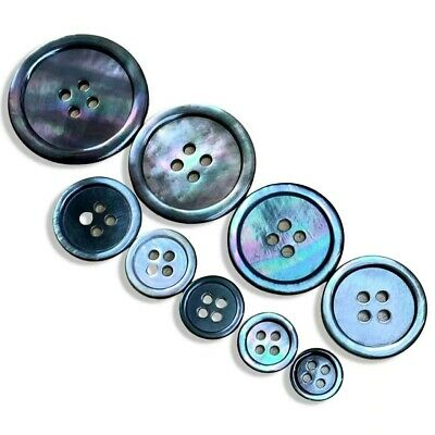 10.11.13.15.18.20mm Mother of Pearl Shell 4 hole Sewing Knitting Buttons Grey B0