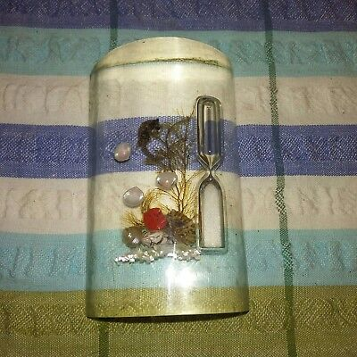 Vintage lucite paper weight egg timer sea horse shell scape beach kitchen desk